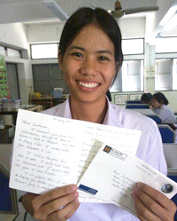 Student with letter